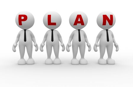 3d people - men person  with word  plan   Plan concept
