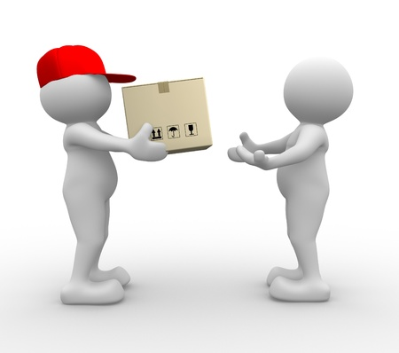3d people - man, person with carton box ( packages) . Postman - delivering a package