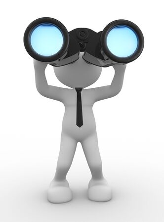 3d people - man, person with a big binocular. Vision