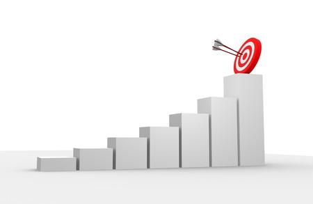 Photo pour 3d render financial graph amd target - image libre de droit