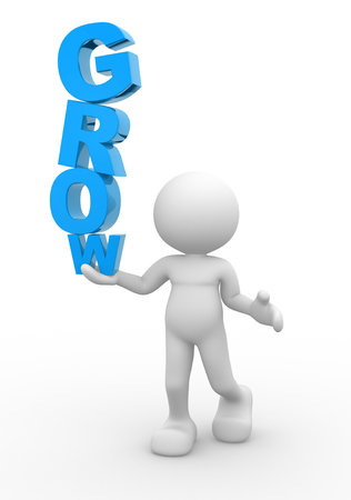 3d people - man, person and a word  Grow . Concept of growth