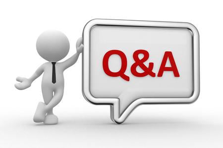 Photo pour 3d people - man, person with a speech bubble. Q&A - question and answer - image libre de droit
