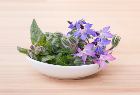 Bowl with borage on a wooden board