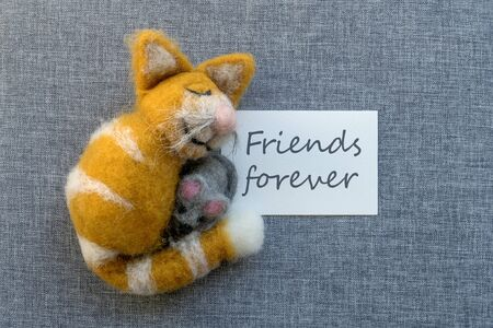 Photo pour Greeting card with cat and mouse and text: friends forever - image libre de droit