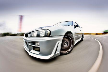 Moving Japanese performance race drift car