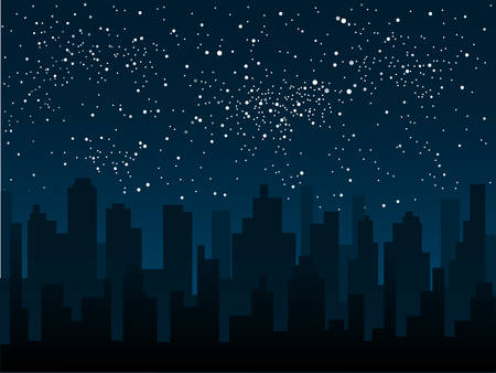 Vector silhouette of the city against the backdrop of a starry night sky.