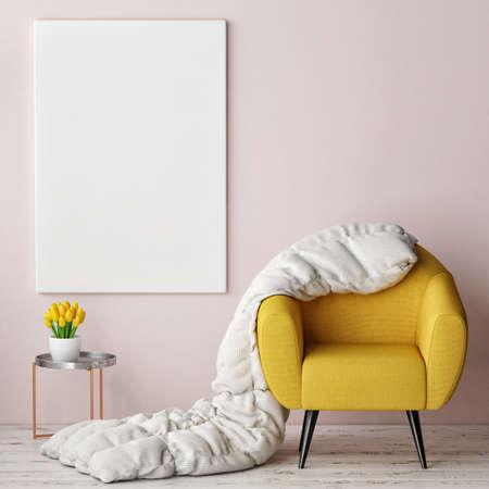 Photo pour concept of comfortable interior with mock up poster, 3d illustration - image libre de droit