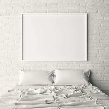 Photo for Empty poster on white brick bedroom wall, 3d illustration - Royalty Free Image