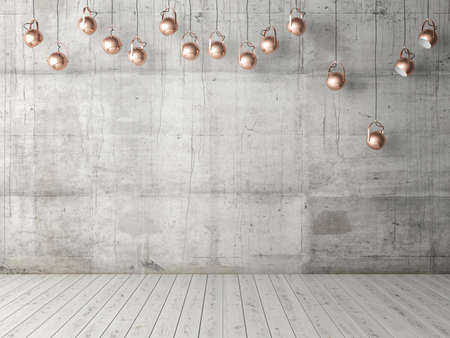 Foto de Concrete empty wall with light bulbs, background, 3d illustration - Imagen libre de derechos