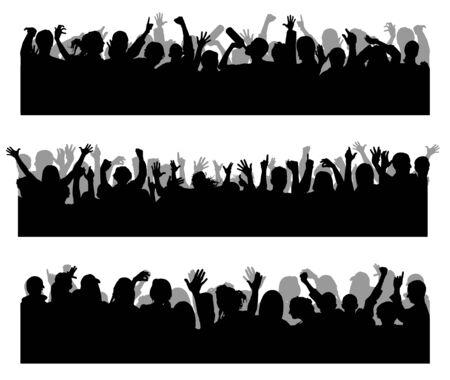 Illustration pour Crowd concert silhouettes vector.  Joyful people at a concert. Dancing silhouettes of people. - image libre de droit