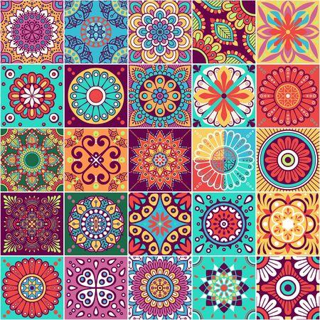 Illustration pour Vector seamless tiles pattern. Abstract tiling background. Ceramic tiles. Traditional ornate decorative tiles. - image libre de droit
