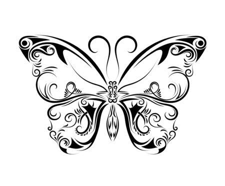 Ilustración de Beautiful black and white butterfly isolated on white background - Imagen libre de derechos