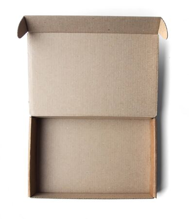 Photo for Empty little cardboard box on a white background. View from above. - Royalty Free Image