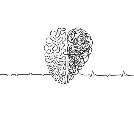 Illustration pour Heart vs brain continuous line drawing concept, emotions with rationality vector illustration in one line style, simple metaphor of the duality of human personality - image libre de droit