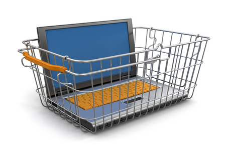 Shopping Basket and Laptop