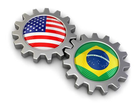 USA and Brazilian flags on a gears