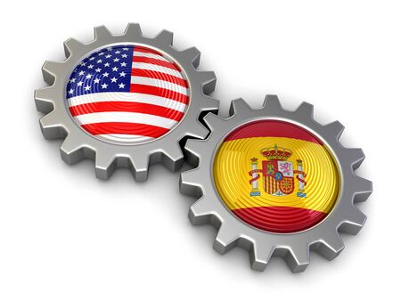 USA and Spanish flags on a gears clipping path included