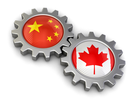 Canadian and Chinese flags on a gears. Image with clipping path