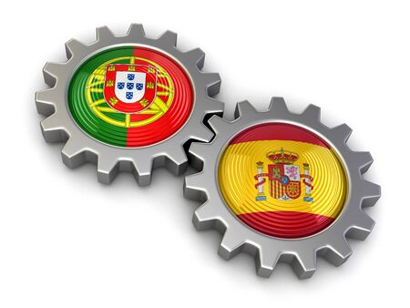 Portuguese and Spanish flags on a gears. Image with clipping path