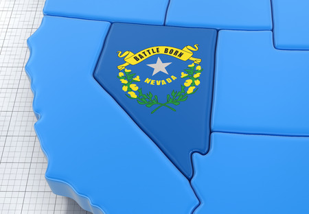 Map of Nevada state with flag. Image with clipping path.