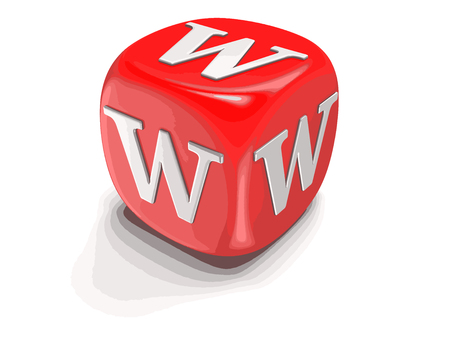 Dices with letter W. Image with clipping path