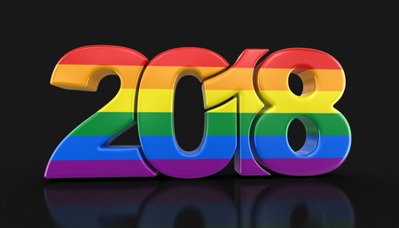 Photo pour Gay Pride Color New Year 2018. Image with clipping path. - image libre de droit