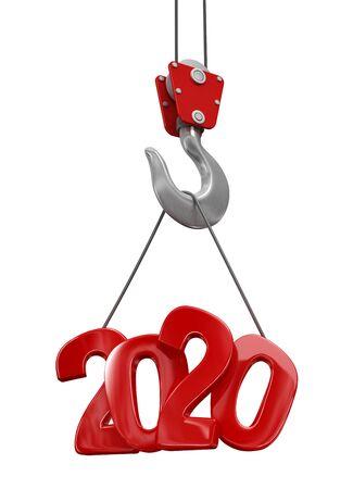 Photo pour 2020 on crane hook. Image with clipping path. - image libre de droit
