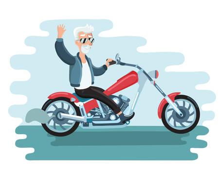 Illustration for Vector illustration of old cartoon biker ride ahe motorcycle - Royalty Free Image
