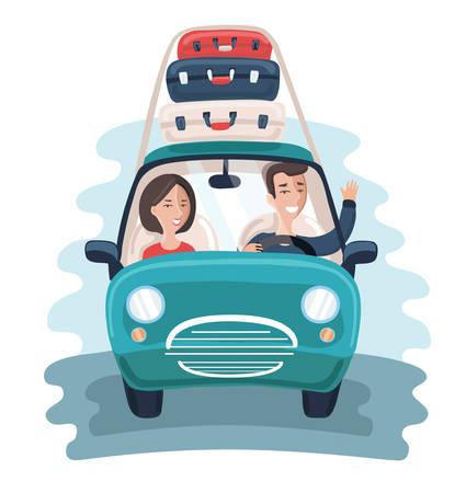 Ilustración de Vector cartoon illustration of young Travelers. Family couple take travel trip in car with a Lot of Bags. Roof luggage - Imagen libre de derechos
