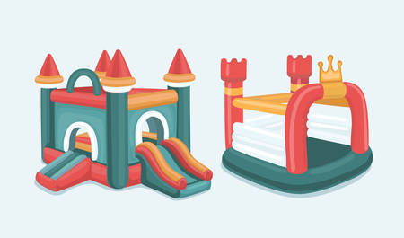 Vector cartoon illustration set of inflatable castles and children hills. Isolated on white background