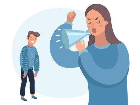 Vector cartoon illustration of mother character scolds in