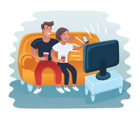Illustration pour Vector cartoon illustration of couple watching retro tv set. Man and woman take rest on the sofa - image libre de droit