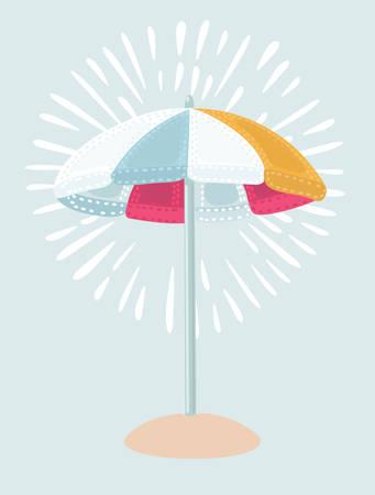 0cca665d6a Vector cartoon illustration Beach Umbrella in red white, blue ...