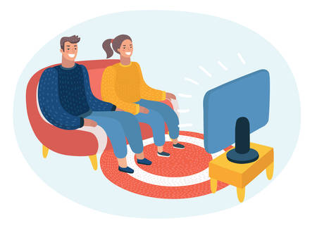Foto per Vector cartoon illustration of happy couple watching TV. Audience, program, broadcast, television. Funny characters on isolated background. - Immagine Royalty Free