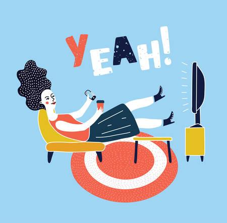 Ilustración de Vector cartoon illustration of woman watching television armchair and sitting in chair, drinking - Imagen libre de derechos