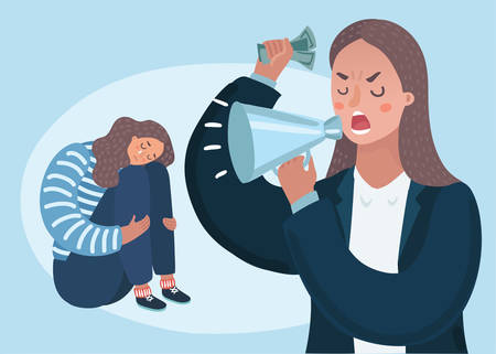 Illustration pour Vector cartoon illustration of angry upset mother character scolds her crying naughty teenager daughter. Family conflict. Parents and children. Woman boss. - image libre de droit