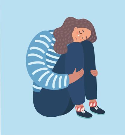 Ilustración de Vector cartoon illustration of sad girl sitting and unhappily hugging her knees and cry. Woman in depression. - Imagen libre de derechos