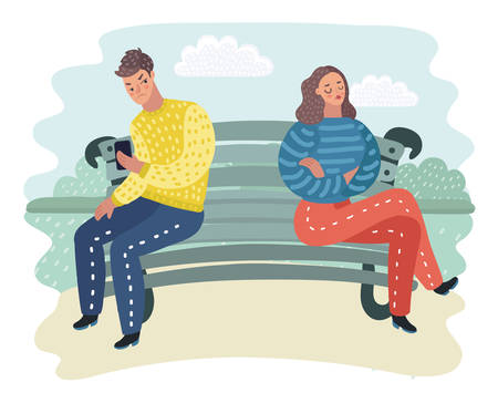 Illustration pour Vector cartoon illustration of Man and woman sitting at the bench in opposite side. Offended each other and dont look each other.in outtdoor park landscape. - image libre de droit