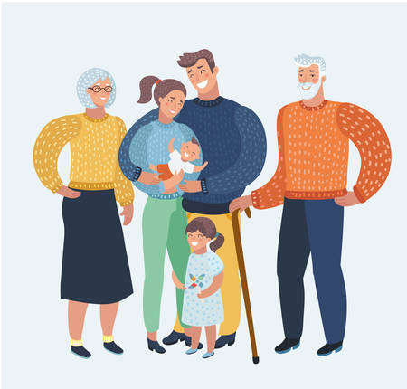 Illustration for Vector cartoon illustration cartoon, beautiful happy family, mother, father, two children, grandparents. Three generation good mood. Human characters - Royalty Free Image
