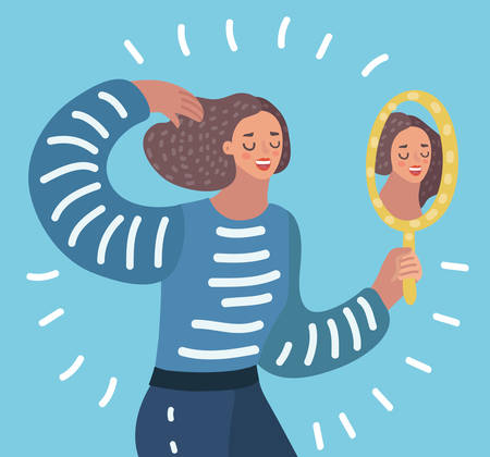 Illustration pour Vector cartoon illustration o Woman watching a mirror and admires herself, self-confidence, narcissism. - image libre de droit