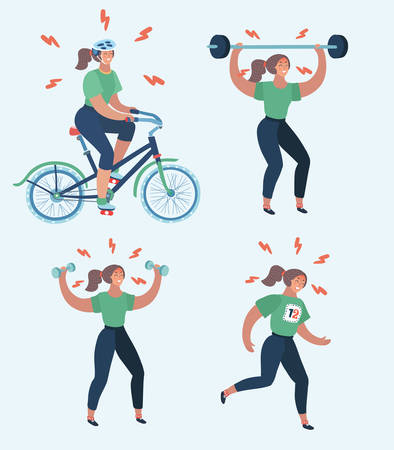 Illustration pour Vector cartoon illustration of hard woman workout. Annoyed woman making perfect body with the different exercise. Dumbbell, barbell, bicycle, running, anaerobic, aerobic workouts. Try to join sports. - image libre de droit