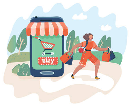 Illustration for Vector cartoon illustration of online shopping and consumerism concept. Web concept electronic business sales. Woman leaves the store with the purchases. Smartphone-market. - Royalty Free Image