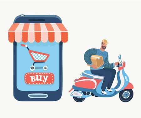 Ilustración de Shopping in internet, delivery, support and add to bag or basket. Buying using smartphone in online store. Vector cartoon illustration in modern concept - Imagen libre de derechos