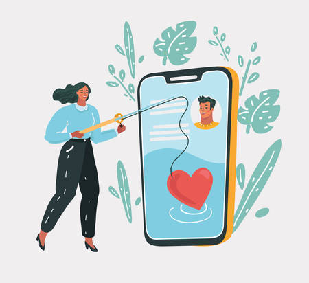 Vector cartoon illustration of Online dating. Couple, love, dating app, virtual love. Woman with love try to find love with heart road.