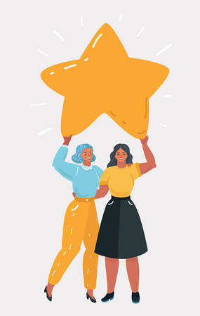 Illustration for Vector cartoon illustration of two woman holding big star. Rating concept. Human character on white bakcground. Wish come through. - Royalty Free Image