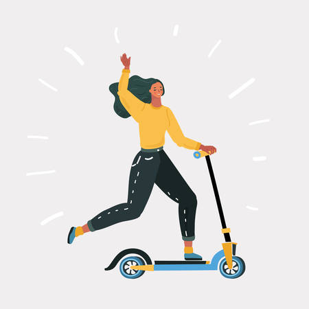 Ilustración de Vector cartoon illustration of woman riding fast on kick scooter. Eco alternative city transport. Human character on white background. - Imagen libre de derechos