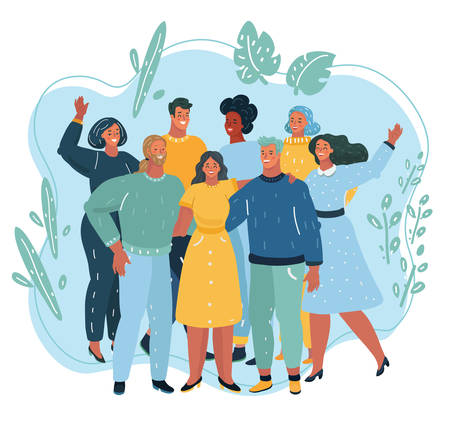 Ilustración de Vector illustration of Happy friendship day friend group of people hugging together for special event celebration. People standing together. Team, coworkers, friends or reletives. - Imagen libre de derechos