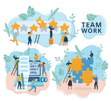 Illustration pour Vector illustration of Creative team work in web template with tiny people and giant Laptop, puzzle, rating. Social media and network tools for internet promotion, advertisement. Modern scenes set. - image libre de droit
