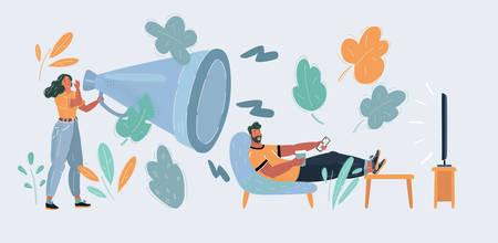 Illustration pour Illustration of wife screaming via megaphone at husband watching TV. - image libre de droit