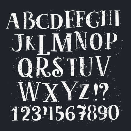 Illustration pour alphabet and numbers set. Handwriting white letters and signs in vintage chalk style on black - image libre de droit